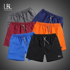 Men's New Beach Shorts 2019 Polyester Shorts for Men Summer Solid Breathable Elastic Waist Casual Man Shorts Male Hip Hop Fashion, Fashion Pants, Mens Fashion, Casual Skirt Outfits, Casual Shorts, Comfy Shorts, Dress Casual, Short Surf, Mens Cotton Shorts