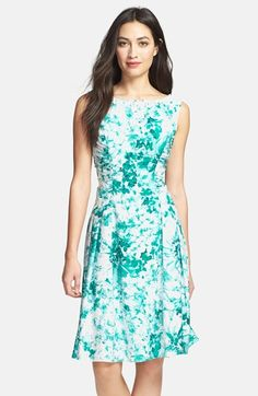 Adrianna Papell Beaded Neck Floral Print Fit & Flare Dress available at #Nordstrom