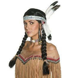 Fancy Dress Accessories Native Indian Wig each Native American Costumes, Native American Headdress, American Indians, Indian Headband, Feather Headband, Red Indian Costume, American Themed Party, Indian Fancy Dress, Wild West Costumes