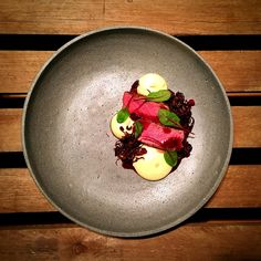 Beef, parsnip puree, oyster mushrooms, red wine sauce and cranberry crumb - The ChefsTalk Project