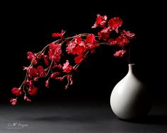 Still Life Photography - Fine Art Photograph, Stone vase red flowers, scarlet, Home decor, Red Wall art, Modern art, Black, gray, red, white