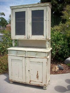 Antique Pie Safe Painted Old Wood Shabby Cabinet Cupboard Primitive Furniture