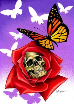 Chrysalis by Jeff Saunders Butterfly Skull Tattoo Canvas Art Print