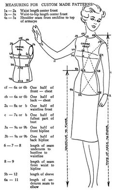 Sweet image with printable body measurement chart for sewing