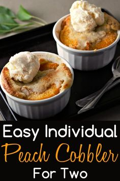 This easy individual Peach Cobbler is delicious and is ready in just one hour with just a few minutes of prep. Serve them in individual ramekins dishes for a fun change and for easy clean up. This recipe makes an impressive and romantic dessert for two. Add a scoop of ice cream to top them off. #PeachCobbler #cobbler #peach #Dessert #DessertForTwo #SmallBatch