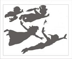 Peter Pan, Wendy Darling, John Darling,  Michael Darling and Tinker Bell flying. black and white silhouette.