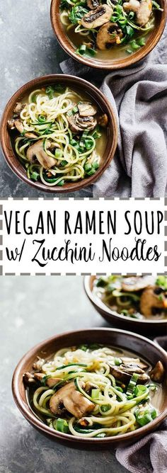 Vegan Ramen Soup w/ Zucchini Noodles! Gluten free, vegetarian, and great for a delicious weeknight dinner. Healthy and low calorie, too!