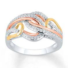 Diamond Ring 1/4 ct tw Round-cut 10K Tri-Tone Gold