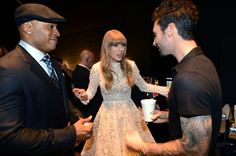 Pin for Later: Surprise — It's Taylor Swift's Birthday!  Taylor hung backstage with LL Cool J and Adam Levine at the Grammy Nominations Concert in December 2012.