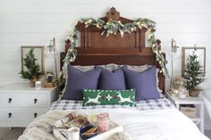 Shades of Blue Interiors blog - Rustic Christmas master bedroom with garlands for a cabin feel