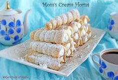 Don& miss this delicious home made dessert recipe of Cream Horns Baking Recipes, Cookie Recipes, Dessert Recipes, Baking Tips, Dessert Ideas, Easy Desserts, Delicious Desserts, Yummy Food, Healthy Food