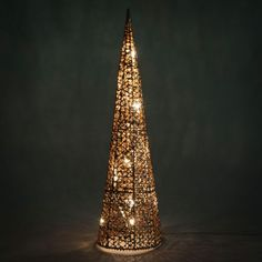 Cône lumineux en métal H 60 cm COPPER