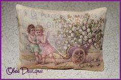 Cream Vintage  Sachet with Angels, Lilly of the Valley and French Advertising Overlay