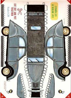 2CV à découper    Trouvée sur le web, c'est ce qui me sert de modèle pour lui faire les gabarits de la 2CV. Les dessins du plans donnent une voiture de 35 cm de long.