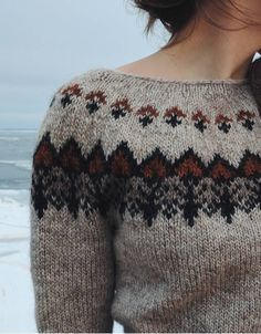 Knitting Blogs, Knitting Stitches, Knitting Projects, Icelandic Sweaters, Wool Sweaters, Fair Isle Knitting, Brown Sweater, Pulls, Knitwear