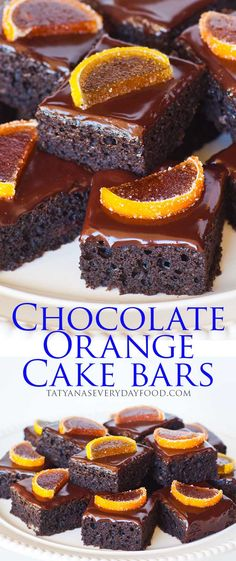 These super easy chocolate orange cake bars are made with orange marmalade and topped with a simple chocolate ganache! These little bars pack a ton of chocolate and orange flavor and they're a great way to finish any meal! Chocolate Orange Cheesecake, Chocolate Ganache, Chocolate Labs, Tatyana's Everyday Food, Citrus Cake, Sheet Cake Recipes, Cake Bars, Little Cakes, Holiday Cakes
