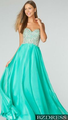 Green Prom Dress with V Neck, A Line Prom Dress with Open Back ...