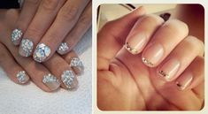 Glittery wedding nails DIY manicures -- one on the right.