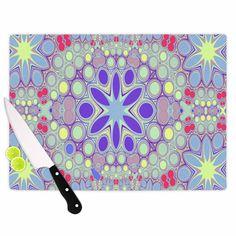 Kess InHouse Alison Coxon 'Hippy Flowers' Lavender Kaleidoscope Cutting Board