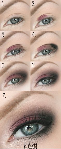 Step by Step tutorial showing you how to do a burgundy smokey eye make up look using 3 colours...x