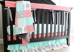 Custom Crib Bedding Baby Bedding Mint Grey by GiggleSixBaby
