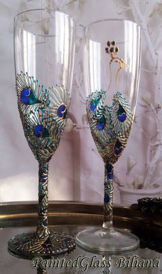 d22a689a88c Set of 2 hand painted wedding champagne flutes Peacock theme personalized  toasting glasses in gold and turquoise color Peacock cake set