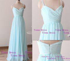 Elegant light blue long Prom dress, prom dresses with straps , long bridesmaid dress