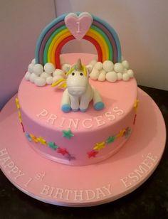 Pretty rainbow and unicorn themed birthday cake for 1st birthday