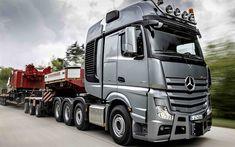 Télécharger fonds d'écran Mercedes-Benz Actros 4163 SLT, 8x4, camion, tracteur, transport de fret surdimensionné, les nouveaux camions de Mercedes-Benz
