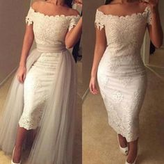 Wholesale Boho Short Off shoulder Lace Tea Length Wedding Dresses Appliques Sheath Bridal Dresses Silver Overskirts Ruffles Vintage Wedding Gowns