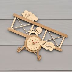 Wooden Airplane Wall Clock Personalized Name by graphicspaceswood