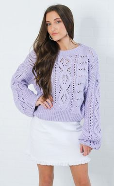870f4793bf Brighten up your winter wardrobe with this cute sweater! It features a  bright lavender color