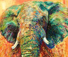 Green elephant, 100x120 cm Wildlife, Elephant, Green, Painting, Animals, Animales, Animaux, Painting Art, Elephants