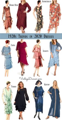1920s dresses,  2020 trends. New 20s style dresses for day to night that are more authentic than a flapper dress