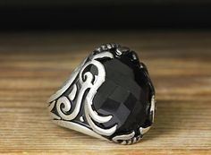 925 K Sterling Silver Man Ring Black Onyx 9 US Size B21-65167 #istanbul #Cluster