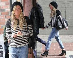Ashley Tisdale steps out in Free People Striped In Crochet Pullover