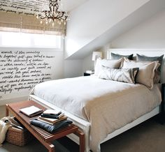 custom script wallpaper + soft neutral bedroom design by kelly deck via style at home Decor, Bedroom Decor, Diy Home Decor, Bedroom Interior, Interior, Bedroom Inspirations, Home Bedroom, Home Decor, Room