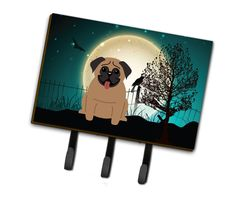 Halloween Scary Pug Brown Leash or Key Holder BB2195TH68