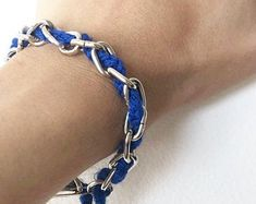 Items similar to Medium Blue and Crystal A. Bridesmaid Bracelet, Woven Blue Blend Crystal Bracelet with Gunmetal Beading, Cuff Bracelet on Etsy Travel Planner, Life Planner, Happy Planner, Chainmaille Bracelet, Bridesmaid Bracelet, Handmade Jewelry, Unique Jewelry, Crystal Bracelets, Blue And Silver