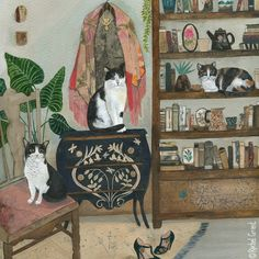 Feline Friends by Rachel Grant Art And Illustration, Cat Illustrations, Rachel Grant, Original Art, Original Paintings, Indian Art, Cat Art, Watercolor Paintings, Abstract Paintings