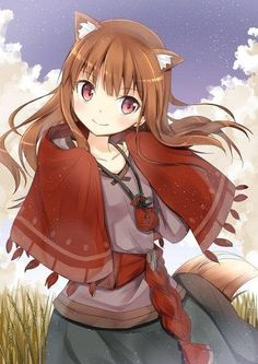 animal ears blush brown hair capelet holo long hair mirai (macharge) pouch red eyes smile solo spice and wolf tail wolf ears wolf tail - Image View - Spice And Wolf Holo, Wolf Tail, Wolf Pictures, Cute Anime Character, Animal Ears, Anime Fantasy, Light Novel, Kawaii Anime, Cute Girls