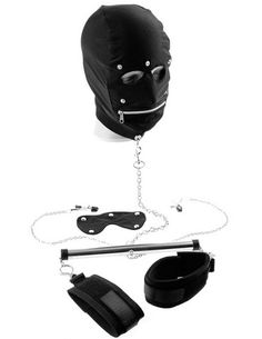 Fetish Fantasy Series Extreme Spreader Set - This Kinky Extreme Spreader Set will put your partner in the perfect position for pleasure every time. The sturdy metal spreader bar attaches to a pair of cuffs a pair of nipple clamps and directly to a D-ring on the lycra mask greatly reducing the subjects freedom of movement. https://www.thrillsfulfilled.com/product/fetish-fantasy-series-extreme-spreader-set/