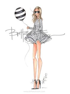 Maje | black & white | happy birthday | blogger style | party dress | fashion illustration | Brittany Fuson