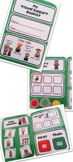 """First and then"", ""token reward"", break and help cards combined in one a booklet to use anywhere. I added a mini schedule so now my students can keep them with them and take ownership! I'm happy! Great for students with Autism. Autism Classroom, Special Education Classroom, Classroom Setup, School Classroom, Classroom Organization, Classroom Behavior, Preschool Behavior, Classroom Schedule, Class Schedule"
