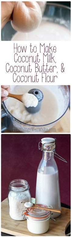 Learn how to make coconut milk, coconut butter, and coconut flour from shredded coconut. All of them are super easy to make, inexpensive, and when you make them yourself, you are able to control the ingredients.