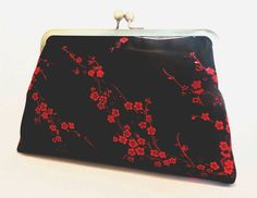 ON SALE Silk Clutch Bag, stunning black and red chinese *evening bag *purse *handmade *gift *christmas *birthday