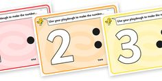 Twinkl Resources >> Simple Number Playdough Mats (1-10)  >> Thousands of printable primary teaching resources for EYFS, KS1, KS2 and beyond! playdough mat, playdough resources, numeracy, numbers, playdough,