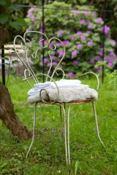 "This lovely iron chair is from our feature ""Pursuit of Pleasure"""