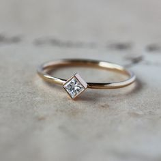 Princess Cut Diamond Ring Square Diamond Unique by ShopClementine