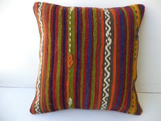 "KİLİM CUSHİON COVER,16""x16"" inch Colorful Stripe Pattern Decorative Turkish Kilim Rug Pillow Cover,Anatolian Kilim Pillow."